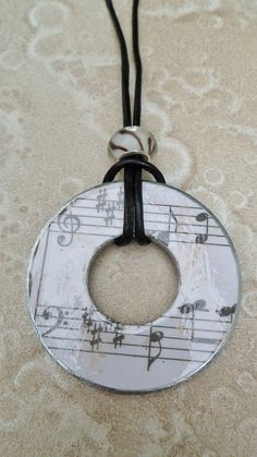 Decopaged Washer Necklace  Off white Sheet Music by savardstudios, $10.00 #Home