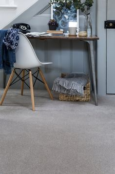 Made from natural New Zealand wool in an blend, Home Counties is a classic wool twist quality, made using fine tenth gauge machinery to create a hard-wearing dense pile carpet that is suitable for all around the home. Available in a range of 18 colours. Neutral Carpet, Beige Carpet, Patterned Carpet, Modern Carpet, Carpet Colors, Red Carpet, Home Office Storage, Home Office Design, Grey Flooring
