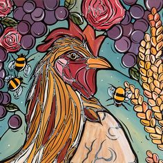 Big Rooster Art Print Kitchen Decor Original Fine by VeroGodbout