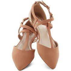 ModCloth Hypnotic Highlight Flat ($30) ❤ liked on Polyvore featuring shoes, flats, flat, ballet flat, tan, tan flats, pointed ballet flats, pointy toe flats, pointed flats and ballet shoes