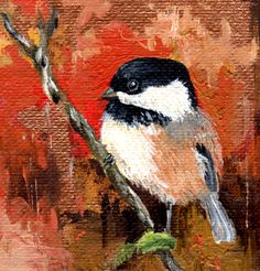 Small Bird Painting, Small Oil on Canvas, Chickadee, Original Oil Painting, 3 x 3, Baby Bird Painting, Miniature Art, by Robin Lyons by LyonsStudio on Etsy