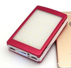 Portable 12000mah Solar Power Bank with Dual USB Cell Phone Battery Charger and 20pcs LED Camping Light