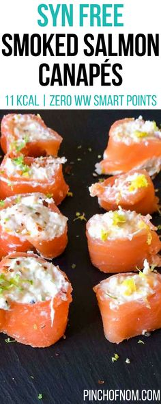 Smoked Salmon Canapés - Pinch Of Nom Smoked Salmon Canapes, Salmon Appetizer, Smoked Salmon Recipes, Slimming World Diet Plan, Slimming World Recipes Syn Free, Slimming Eats, Ww Recipes, Fish Recipes, Appetizer Recipes