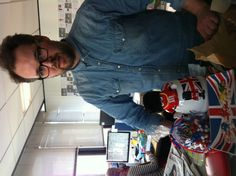 Tim from our picture desk with some patriotic M and M goodies
