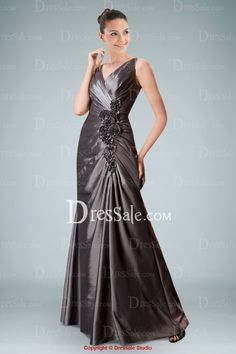 Remarkable Sheath Mother of Bride Dress with Delicate Floral Ornaments