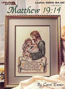 free religious cross stitch patterns   ... Jesus Suffer Little Children Christian Cross Stitch Pattern New   eBay