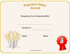 This printable scouting award certificate features popcorn and is to be presented to a scout to recognize efforts in popcorn sales for a fundraiser.