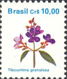 Selos: Brazilian Flora. Tibouchina granulosa (Brasil) (Flora) Mi:BR 2352,Yt:BR 1957,RHM:BR 679