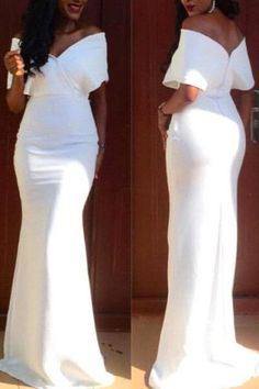 Off-The-Shoulder Short Sleeve Pure Color Women's Maxi Dress