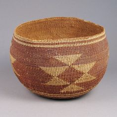 Hupa Bowl, c. 1920. A twined basketry bowl with geometric designs made by the Hupa, Karok, or Yurok tribes of California, artist unknown. Cedar root and Bear grass. Photo by Shiprock Gallery, Santa Fe, NM      Material: Cedar root and Bear grass