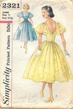 Simplicity 2321 - 1950s Scoop Back Full Skirt Sewing Pattern, yellow blue floral party dress low cut puff sleeves full skirt bow color illustration print ad vintage fashion style offered on Etsy by GrandmaMadeWithLove