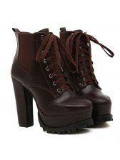 Fashion Style Elastic Cord Bandage Pointed Toe Chunky Heel Platform Short Boots