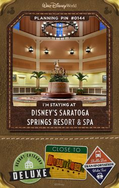 Walt Disney World Planning Pins: Inspired by historic Saratoga Springs—a late-1800s' New York retreat famous for its spas and horse racing—this charming, Victorian-style Resort hotel is nestled between rolling golf course greens and the shimmering Village Lake. Delight in stately Studios and multi-bedroom Villas, dazzling pools and an award-winning spa. You can also explore the fun activities and exciting dining options of the Downtown Disney area, just a boat ride away.