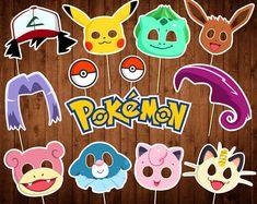 Pokemon Photo Booth Props - Printable PDF - Pokemon Party Props - INSTANT DOWNLOAD - Pokemon Birthday Decor