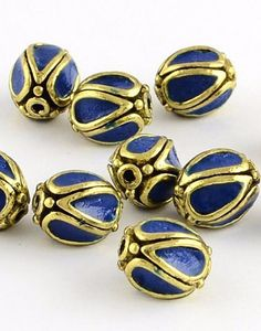 Midnight Blue Antique Golden Metal Oval Handmade Indonesia Beads -5