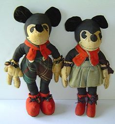Original 1930's Mickey Mouse and Minnie Mouse Dolls