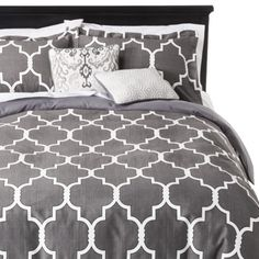 Ink 5 Piece Geometric Gate Duvet Cover Set - Gray (King)