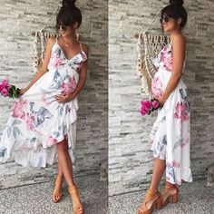 a510d0fc7ba3a Summer Women Mother Casual Floral Falbala Pregnant Dress For Maternity  Clothes #Unbranded #CocktailDress #