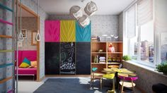 This spacious kids area has more than just beds, starting with a large play and study area for smaller kids.