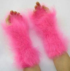 Fuzzy pink arm warmers