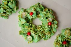 Christmas Cornflake Wreaths -- made these when I was a kid.  Glad I found the recipe again!!