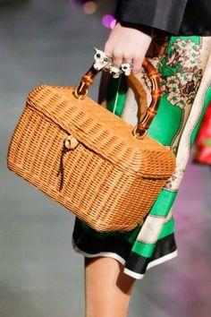 Gucci Tan Wicker Bamboo Top Handle Bag - Fall 2017