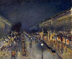"""CAMILLE PISSARRO: """"Le Boulevard Montmartre, effet de nuit (The Boulevard…"""