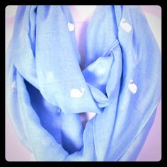 Whale Embroidered Scarf You'll have a whale of a time in this infinity scarf. 30% cotton, 70% viscose and 100% adorable! Accessories Scarves & Wraps