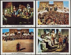 """Cecil B DeMille's """"The Ten Commandments"""" (Paramount, 1956) Lobby Cards"""