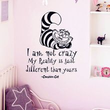 """Alice In Wonderland Wall Sticker Cheshire Cat Quotes """"I Am Not Crazy.."""" Vinyl Decals Room Wall Art Decoration DIY Home Decor"""
