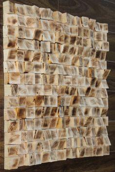Woodburning FM 20x20 Reclaimed Wood wall Art, Wood mosaic, Geometric art, Wood…
