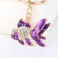 Tropical Fish Alloy Key Ring Chain Novelty Fashion Gift Woman Decor Purple