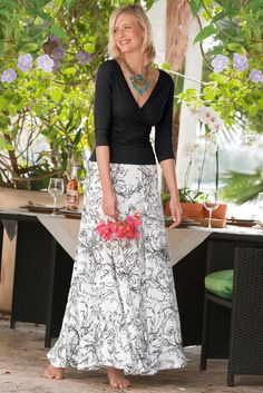 Summer Breeze Skirt - A uniquely striking piece with a pen-and-ink print | Soft Surroundings