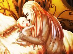 Thranduil consoling baby Legolas (Mirkwood Postcard Set) so cute