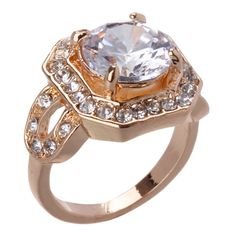 Large Stone Ring in #Crystal / #Gold - 25660 - from @colettehayman (AUD $11.21 was AUD $14.95).