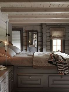 Selecting Rustic Bedroom Paint Colors Ideas for any space is a challenging job. There're a lot of points to take into account such as illumination, home furnishings, floor covering, and your indi Rustic Room, Home, Rustic Bedroom, Bedroom Paint, Bedroom Paint Colors, Log Home Interior, Log Cabin Interior, Grey Decor, Cabin Interiors