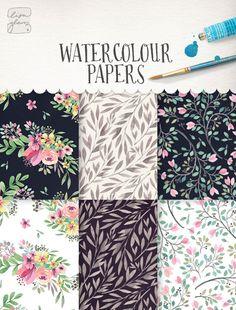 "Hand painted watercolor paper set / digital paper  / flowers / watercolour paper  / 12x12"" / 300dpi / commercial use / PNG / CM0084g"