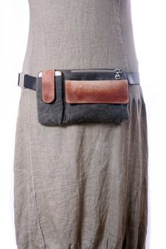 Wax Canvas and Leather Hip Bag Bum Bag Fanny Pack Soft Leather Fanny Pack, Leather Pouch, Leather Purses, Waxed Canvas, Canvas Leather, Stylish Fanny Pack, Bum Bag, Handmade Bags, Creations