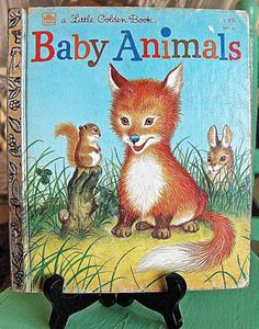 SALE Baby Animals Golden Book 309-411982 by VintageUnderTheSun