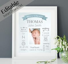 Birth Announcement With Dog Etsy Whiteboard, Birth Announcement Boy, Birth Announcements, Baby Frame, Art Template, Templates Free, Baby Birth, Poster Wall, Printable Wall Art