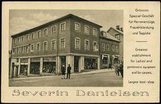 Nordland SEVERIN DANIELSEN. Narvik, Fint kort med bilde av forretningen og reklame på tysk og engelsk.