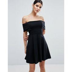ASOS Deep Bardot Mini Skater Dress ( 30) ❤ liked on Polyvore featuring  dresses 4ba3b17c6