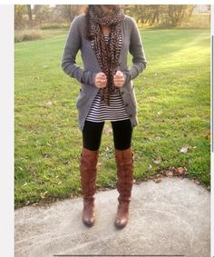 Sweater, leggings, boots, scarf