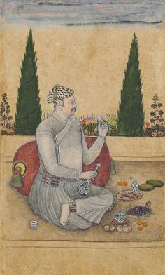 A NOBLE FEASTING ON A TERRACE  BIKANER, RAJASTHAN, CIRCA 1680
