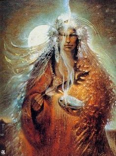 Yolkai Estsan ~ Moon Goddess of the Navajo people ~ by Susan Seddon Boulet