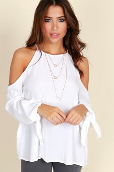 7a000bb7af8f Devoted To You Top White This is an open shoulder style which includes long  sleeves that tie at the wrist.