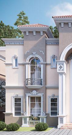 Exterior villa design facades Ideas for 2019 House Outside Design, House Front Design, Door Design, Exterior Design, Classic House Exterior, Classic House Design, Modern House Design, Village House Design, Bungalow House Design