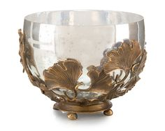 John-Richard Ginkgo Accent Bowl, Brass, With its detailed brass ginkgo leaves encasing a mercury glass vessel, this accent bowl puts a luxe spin on nature-inspired decor. Luxury Wedding Gifts, Luxury Gifts For Women, Wood Carving Designs, Mercury Glass, Inspirational Gifts, Home Decor Accessories, Anniversary Gifts, Wedding Anniversary, Decorative Bowls