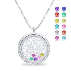 RUBYCA Living Memory Glass Locket Necklace Heart Birthstone Floating Charms Gift