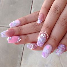 Amazing pink and lavender mermaid nails! See this Instagram photo by @nailedbymary • 760 likes